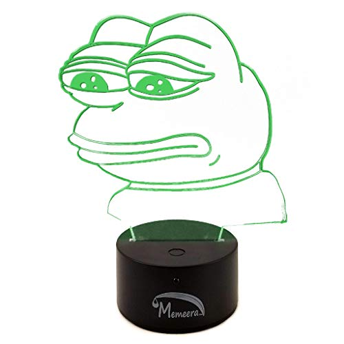 Such Wow! LED Sad Pepe Meme Desk Table Bedroom Night Light Lamp - Touch/Remote Controlled, 16 Different Colors, 8.5