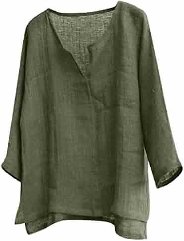 Masun Men Linen Shirts Comfy Ulta Thin Breathable V Neck Long Sleeve T Shirt Vintage Solid Color Brief Loose Casual Tops