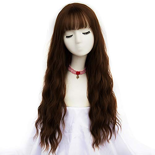 netgo Women's Brown Wig Long Curly Wavy Hair Wigs for Girl Heat Friendly Synthetic Party Wigs]()
