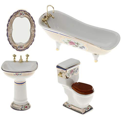 SM SunniMix 4 Pieces 1:12 Miniature Dollhouse Bathroom Supplies Set Bathtub Toilet Sink Mirror Accs #3
