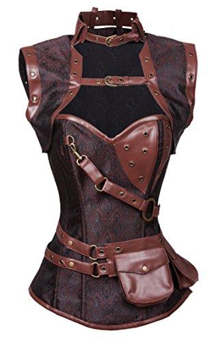 [Blidece Women's Steampunk Spiral Retro Goth Steel Boned Vintage Retro Corset Tops Bustier Large] (Goth Ann Teen Costumes)