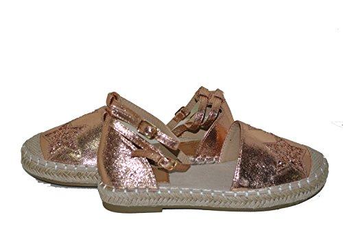 Rosa Caviglia Cinturino Fl Shoes Stelle Espadrillas Con Glitterate Alla Champagne Decorate BnTUwqR