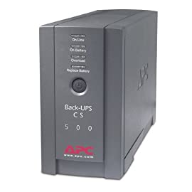 APC BK500BLK Back-UPS Cs 500VA/300W UPS System, Gray 15 6 outlets-3 ups/surge, 3 surge only 1, 020 Joules and output frequency (sync to mains) is 50/60Hz +/- 3 Hz 2 Block-spaced outlets