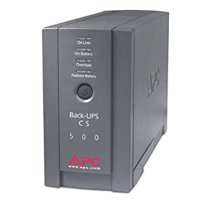 APC BK500BLK Back-UPS Cs 500VA/300W UPS System, Gray 2 6 outlets-3 ups/surge, 3 surge only 1, 020 Joules and output frequency (sync to mains) is 50/60Hz +/- 3 Hz 2 Block-spaced outlets