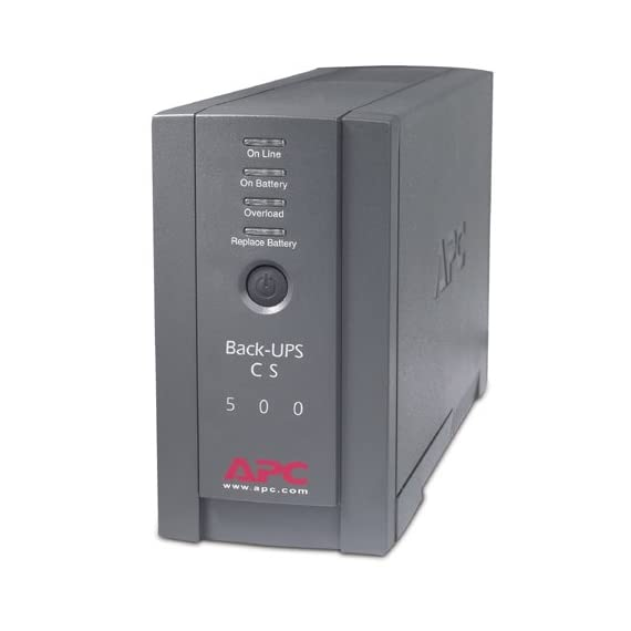 APC BK500BLK Back-UPS Cs 500VA/300W UPS System, Gray 1 6 outlets-3 ups/surge, 3 surge only 1, 020 Joules and output frequency (sync to mains) is 50/60Hz +/- 3 Hz 2 Block-spaced outlets