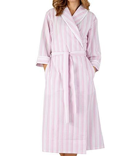 Ladies Seersucker Stripe Dressing Gown 3/4 Sleeve Shawl Collar Robe Lace Trim Wrap UK 20/22 (Pink) (Seersucker Wrap)