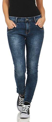 Pantalones de Fife Stretch L7674 Jeans Hipster Boyfriend Look Blue Lexxury Pocket de Baggy Lentejuelas mujer Jeans Destroyed mujer q8nwzC6S