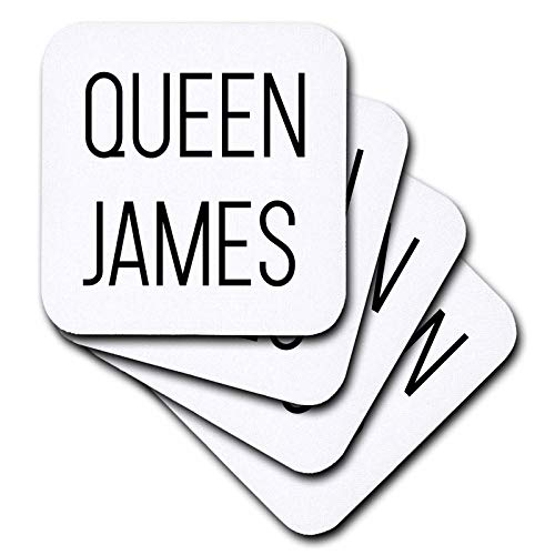 (3dRose Tory Anne Collections Quotes - Queen James - set of 8 Coasters - Soft (cst_288524_2))