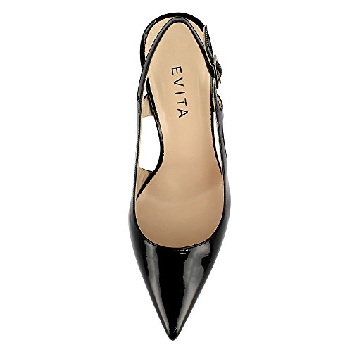 Shoes Cuir Jessica Noir Verni Evita Sling Escarpins HnTgxCqqw