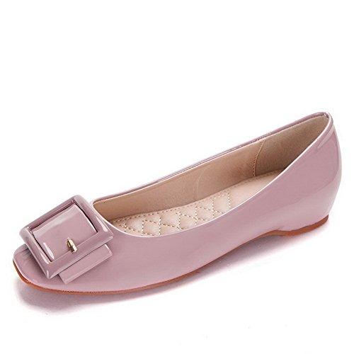 AalarDom Damen Weiches Material Ziehen Auf Quadratisch Zehe Niedriger Absatz Pumps Schuhe Pink-Schnalle