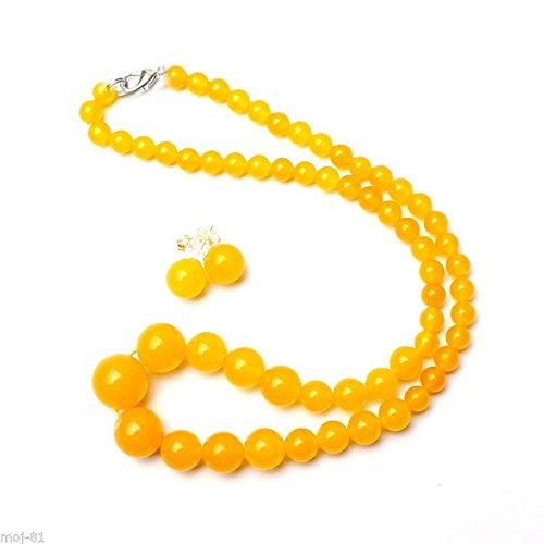 Natural 6-14mm Yellow Jadeite Jade Round Beads Necklace Earring Jewelry Set - Jadeite Earrings
