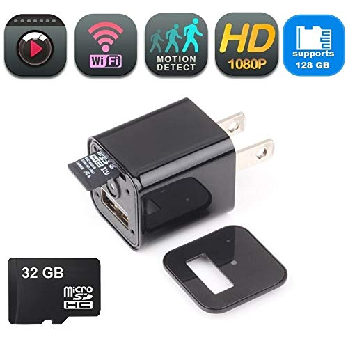 DENT USB Hidden Spy Camera WiFi, Motion Detection, Supports 128gb microSD Card, 32gb microSD Card Included, Nanny Spy Pet Baby Security Surveillance Camera