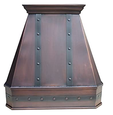 "Handcrafted Copper Range Hood with Commercial Grade Hood Vent, Lighting, Fan Motor and Baffle Filter, High CFM, Custom Decorative Strips and Rivets Wall Mount W30"" x H42"""