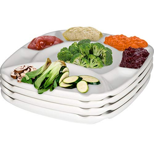 MyCuisina White Stoneware Set of 4 Divided Fondue plates, 8 Sections - Gift Boxed (Fondue Set The)