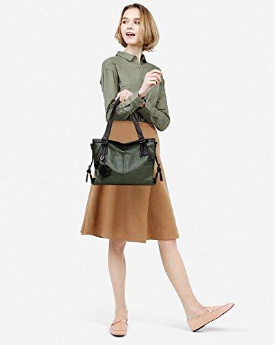 Cire Huile Sac à Sac en Shopper Casual Main Tout Bandoulière Vintage Femme PU fourre Tisdaini épaule Vert Sac à Dames Grand Cuir Doux à UqX1I