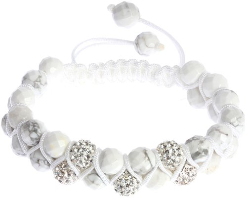 Royal Diamond Double-Strand Iced Crystal and White Stone Shamballa Hip Hop Bracelet