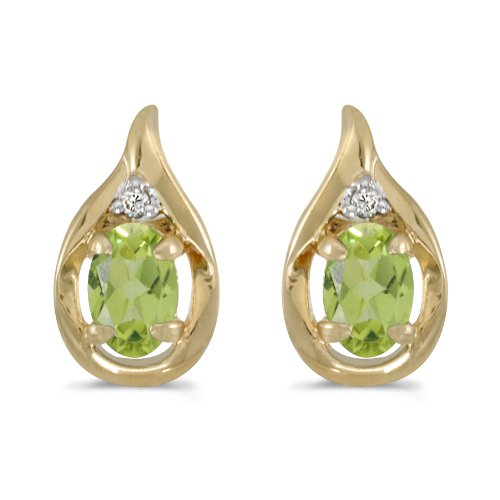 - 0.80 Carat (ctw) 10k Yellow Gold Oval Green Peridot and Diamond Teardrop Stud Earrings with Post with Friction Back (6 x 4 MM)