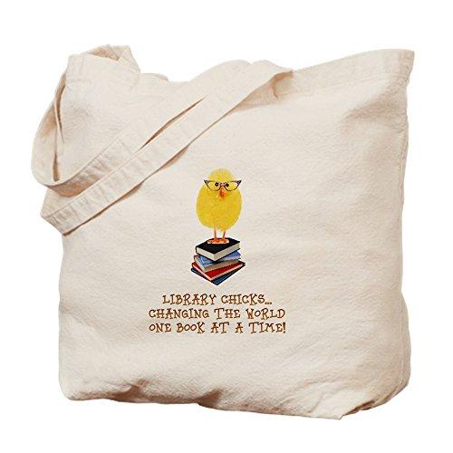 CafePress–Biblioteca pollito–Gamuza de bolsa de lona bolsa, bolsa de la compra Small caqui