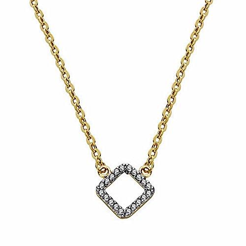 Pendentif 18k diamant bicolor d'or avec 45cm chaîne. [AA1840]