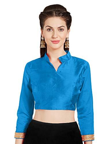 Sari Turquoise Blue (Women Turquoise Art Silk Readymade Saree Blouse Choli Mirchi Fashion Top)