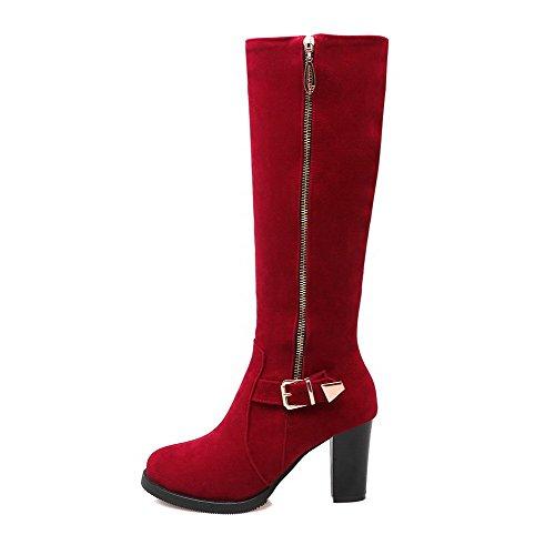 Allhqfashion Womens Tacco Alto Con Zeppa Imitato Camoscio Solido Medio Top Stivali Rosso