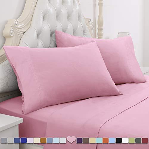 HOMEIDEAS 4 Piece Bed Sheet Set (Queen, Pink) 100% Brushed Microfiber 1800 Bedding Sheets - Deep Pockets, Hypoallergenic, Wrinkle & Fade Resistant