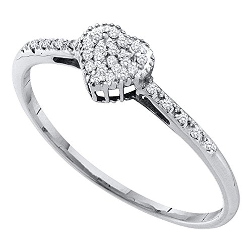 14kt White Gold Womens Round Diamond Heart Love Ring 1/12 Cttw
