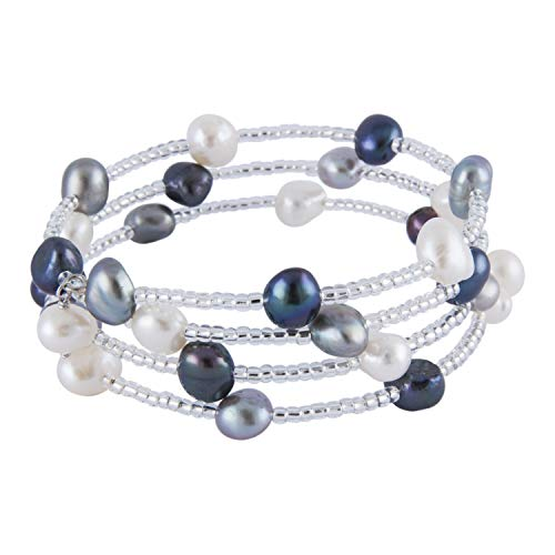- 3-Row Handpicked AAA+ 6-7mm Baroque Freshwater Cultured Pearls 925 Sterling Silver Flex Fit Bangle Wrap Bracelet 7