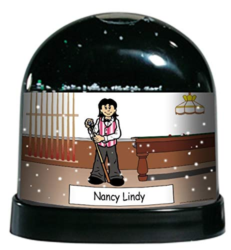 Printed Perfection Personalized Pool Player Female Snow Globe Gift Billiards, Pool Shark, Team, Trophy