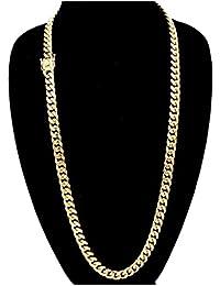 Cuban Link 24K Gold Plated Men's Miami Cuban Chain...