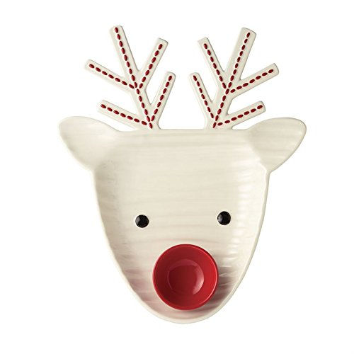 Mud Pie 4185017 Reindeer Christmas Chip and Dip Set, One Size, White