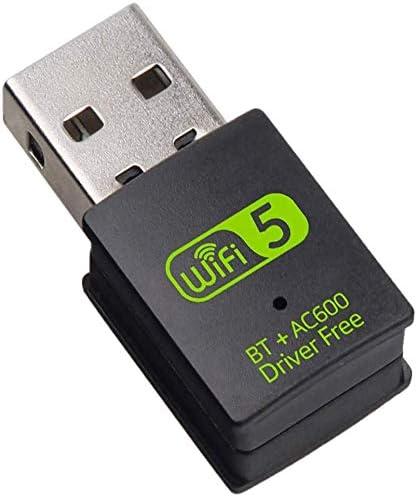 HAL WiFi Adaptador USB Bluetooth para PC, Dongle Inalámbrico 600 Mbps Doble Banda 2.4G/5.8G Adaptador USB Bluetooth Tarjeta de Red Receptor WiFi para Portátil Computadora de Escritorio Win10/8/8.1/7