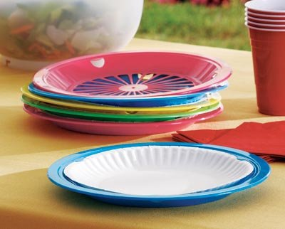 Amazon.com (12 Pack) Reusable Plastic Paper Plate Holders for 9  Plates Colors May Vary Kitchen u0026 Dining & Amazon.com: (12 Pack) Reusable Plastic Paper Plate Holders for 9 ...