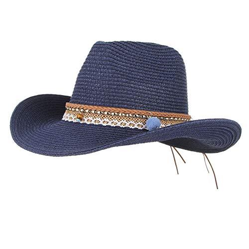 (Summer Hats for Women Wide Brim Straw Hat Western Cowboy Cowgirl Jazz Hat Men Visor Sun Cap Adjustable Navy)