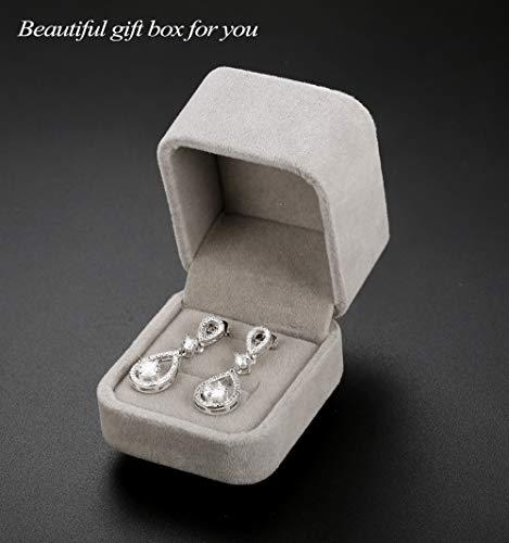 Udalyn Teardrop Dangle Wedding Earrings for Women Silver CZ Drop Earrings Prom Bridesmaid Jewelry Earrings by Udalyn (Image #1)