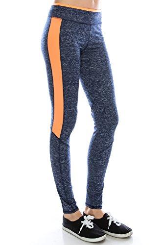 Yoga Fitness Active Running Workout Sports Athletic Leggings Pants Navy/Orange S