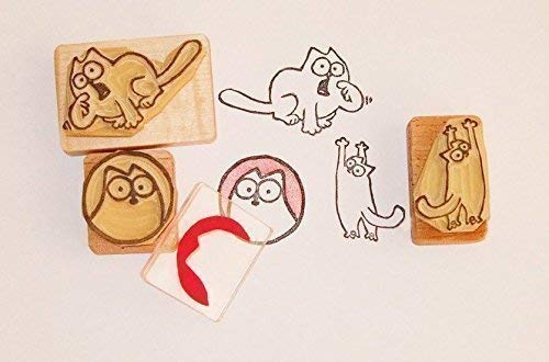 Simon's Cat inspired hand carved rubber stamp set