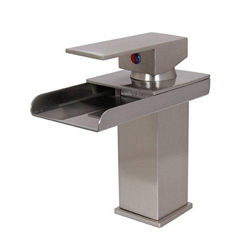 hot sale 2017 Hiendure® Single Handle One Hole Solid Brass Bathroom Waterfall Faucet, Brushed Nickel