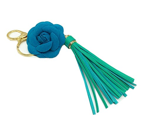SBParts Green Flower Leather Tassel Keychain, Stylish Fashionable Luxury Leather Tassel Garland with Flower Key Ring Bag Charm Pendant (Leather Garland)