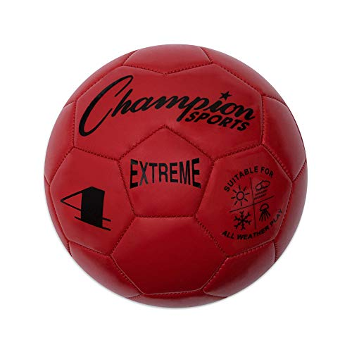 Champion Sports Extreme Series Soccer Ball, Size 4 - Youth League, All Weather, Soft Touch, Maximum Air Retention - Kick Balls for Kids 8-12 - Competitive and Recreational Futbol Games, Red