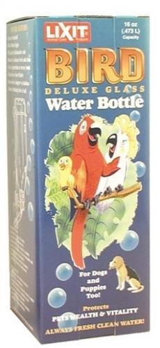 Lixit 16 oz De Luxe Glass Water Bottle for Large Birds (Macaws etc) 5/8'' tip No 622