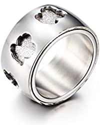 URs Womens Silver Titanium Stainless Steel Teddy Bear Band Ring