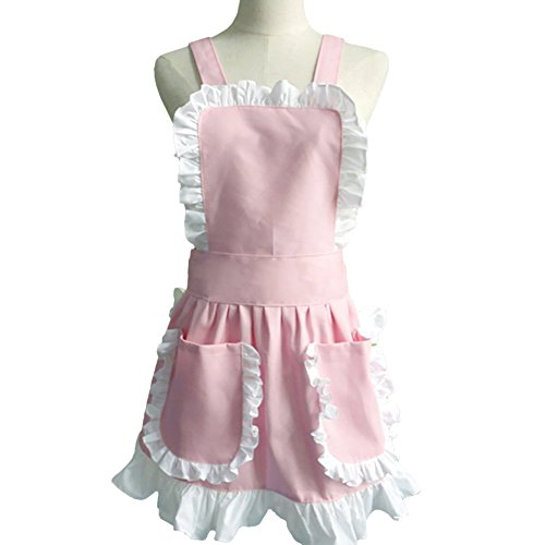 Aspire French Maid Women's Apron Ruffles Ladies Fancy Maid Apron with Pockets Kitchen Aprons - Pink (French Maid Party)