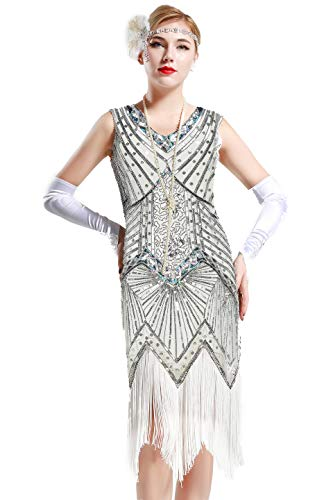 BABEYOND Women's Flapper Dresses 1920s V Neck Beaded Fringed Great Gatsby Dress (Silver, XL (Fits 31.5