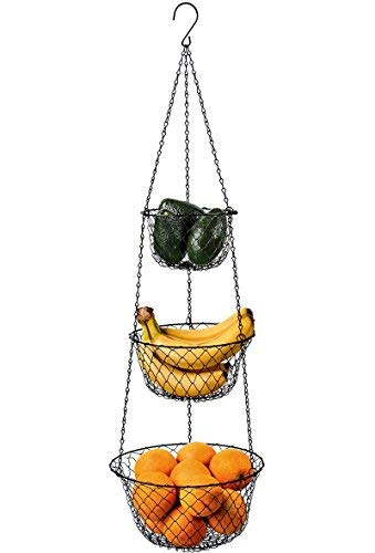 MALMO 3-Tier Wire Fruit Hanging Basket, Vegetable Kitchen Storage Basket (Black) (3 Tier Hanging Fruit Vegetable Kitchen Storage Basket)
