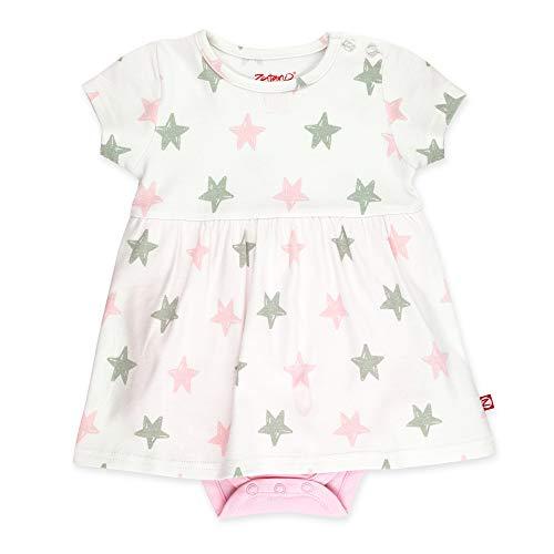 (Zutano Baby Girl Organic Cotton Summer Dress, Pink Star/Romper, 3M)