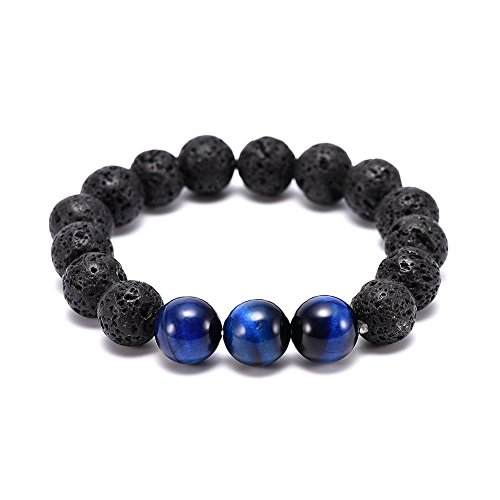 Blue Black Tiger - Men's 12mm Blue Tiger's Eye Stone and Black Agate Stone Carved With Dragon Natural Stones Beaded Stretch Bracelet Energy Healing Lava Rock Stone Yoga Elastic Bracelet (Black and Blue)