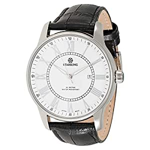 Starking Men's White Dial Leather Band Watch - BM0845SL21