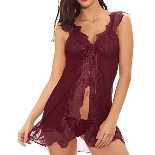 Uscharm Women V Neck Eyelash Floral Lace Lace Sheer Halter Babydoll Lingerie Open Front Sexy Sheer Babydoll Backless Mesh Chemise(Win Red,M) (Seduction Bustier Bridal)