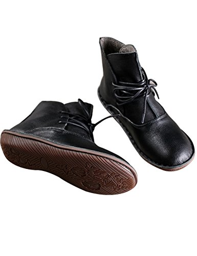 10 Fleece Boots Boots Boots Zoulee Martin Black Women's Leather Flat Style Ankle Short qFc7vFf6w